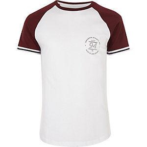 White print slim fit raglan T-shirt