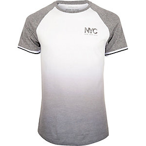 White faded print slim fit raglan T-shirt