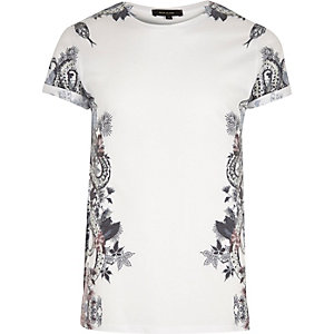 White side snake print T-shirt
