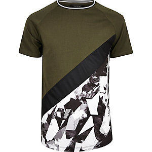 Khaki colour block camo T-shirt