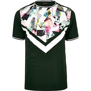 T-shirt à imprimé géométrique vert