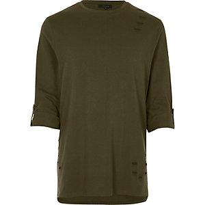 Khaki nibbled longline roll sleeve T-shirt