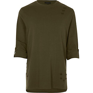 Khaki nibbled longline roll sleeve T-shirt