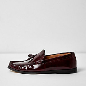 Burgundy patent tassel loafers
