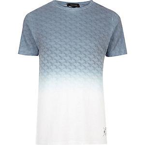 T-shirt blanc à imprimé géométrique délavé