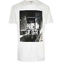 White 'NYC' print T-shirt