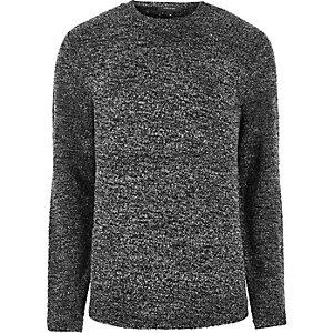 Dunkelgraues Bouclé-Sweatshirt