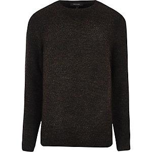 Dunkelbraunes Bouclé-Sweatshirt