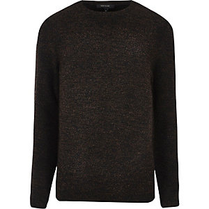 Dark brown bouclé sweatshirt