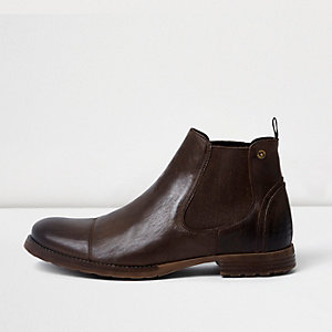 Chocolate brown leather chelsea boots