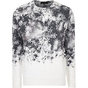 White faded snowflake print sweatshirt