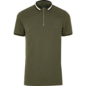 Polo vert kaki à col zippé