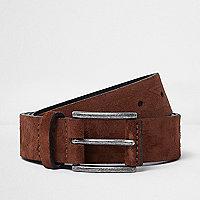 Brown suede Aztec print belt