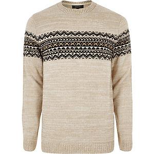 Steingrauer Pullover im Fairisle-Design