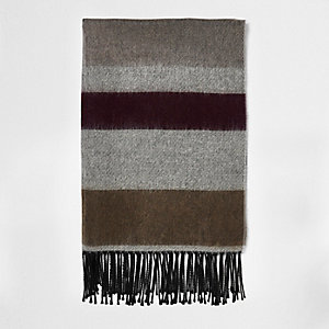 Grey block stripe tassel scarf
