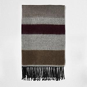 Grey block stripe tassel scarf