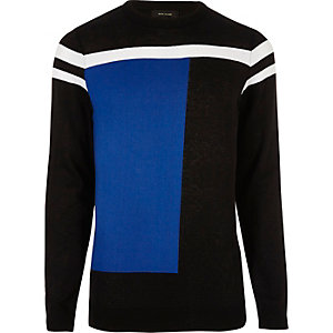 Pull motif color block bleu vif coupe slim