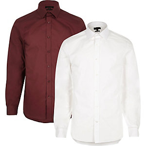 White and red smart slim fit shirt multipack