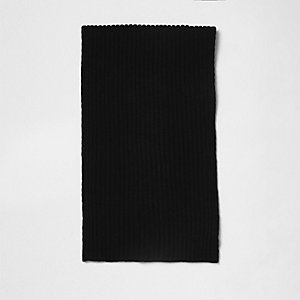 Black ribbed knit scarf