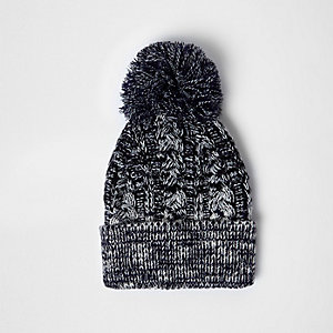 Navy twist knit bobble hat