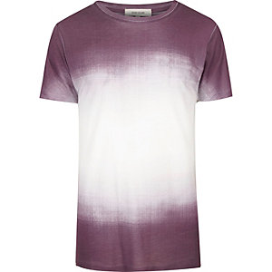 White and purple faded print T-shirt