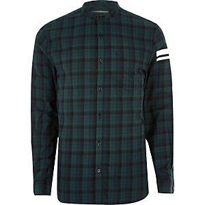 Green check print sleeve grandad shirt