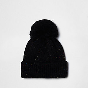 Black flecked knit bobble hat