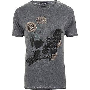 T-shirt imprimé tête de mort et roses gris foncé