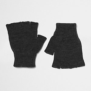 Dark grey knit fingerless gloves