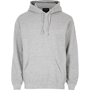 Sweat à capuche casual gris chiné