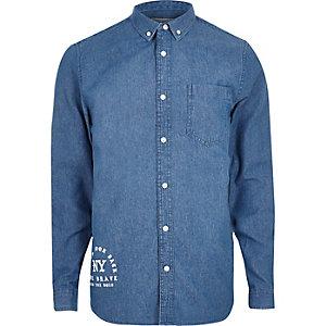 Blue gothic print casual denim shirt