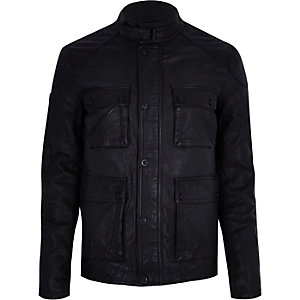 Superdry black leather pocket jacket