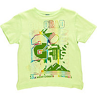 Boys green short sleeve printed t-shirt