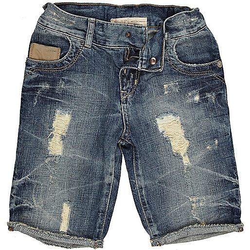 Boys distressed denim cut off shorts