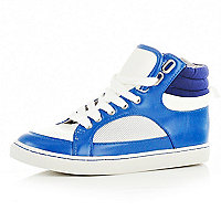 Boys blue and white high top trainers