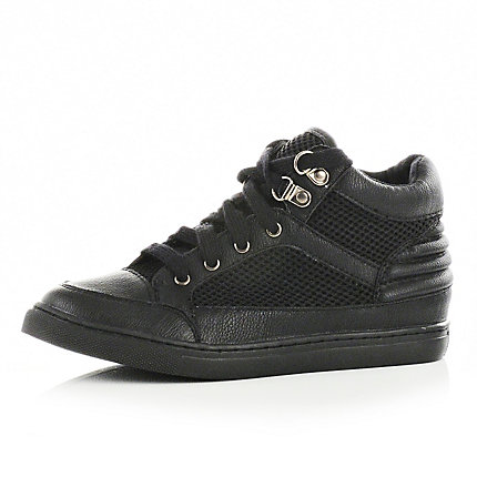 Boys black mid top trainers