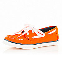 Boys orange deck shoes