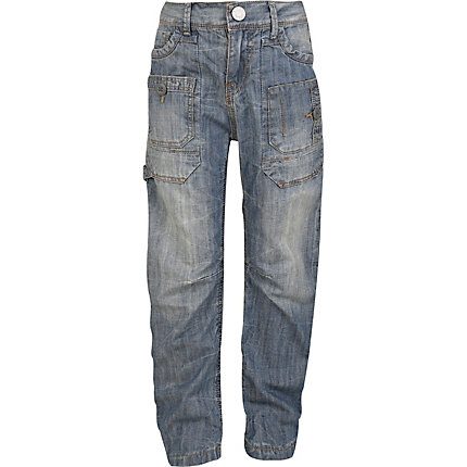 Boys light denim carpenter jeans