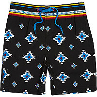 Boys black aztec print swim shorts