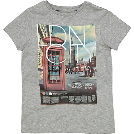 Boys grey london phone box print t-shirt