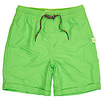 Boys green fluoro swim shorts