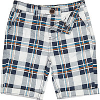 Boys blue check chino shorts