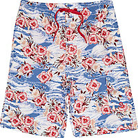 Boys blue hawaiian print swim shorts