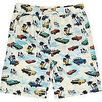 Boys ecru car print swim shorts