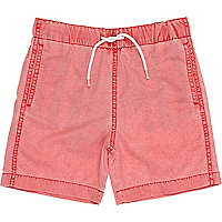 Boys red acid wash swim shorts