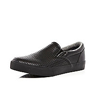 Boys black perforated slip on shoe