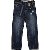 Boys blue distressed jeans with belt