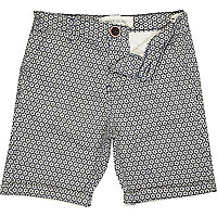 Boys navy tile print chino shorts