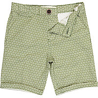 Boys green tile print chino shorts