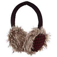 Boys red check earmuffs with faux fur